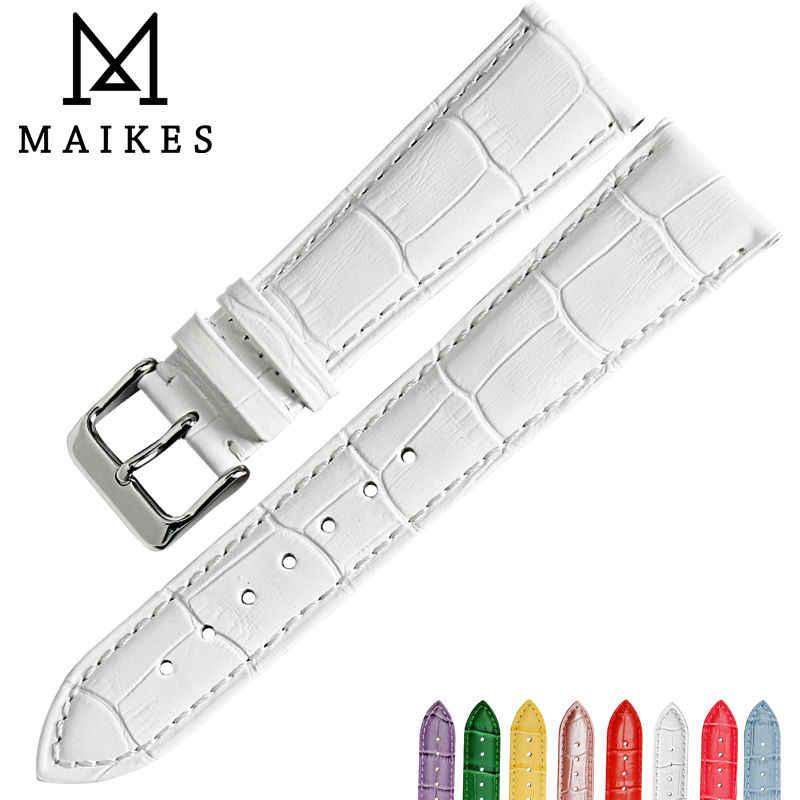 MAIKES حار بيع الأزياء watchbands الوردي جلد طبيعي حزام ساعة اليد 12 مللي متر-22 مللي متر للنساء حزام (استيك) ساعة ل تيسو سوار ساعة