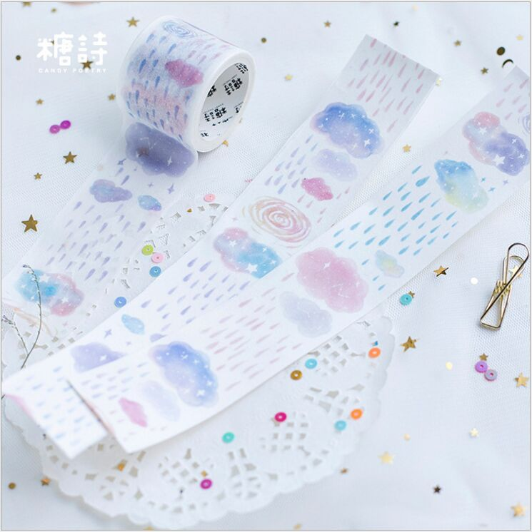 35mm Wide Rainbow Cloud Raining Sky Decorative Diary Washi Tape DIY Planner Scrapbooking Masking Tape Escolar