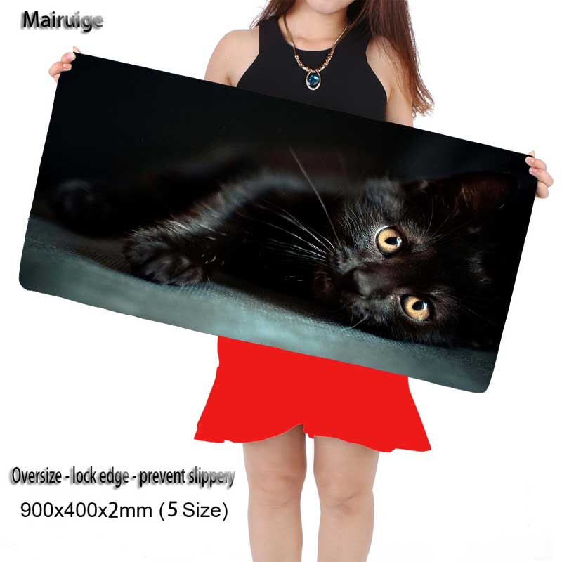 Mairuige Gaming Black Cat Mouse Pad Durable Mat with Locking Edge Rubber Cloth 900*400*2mm for Dota LoL CSGO Desktop PC Laptop