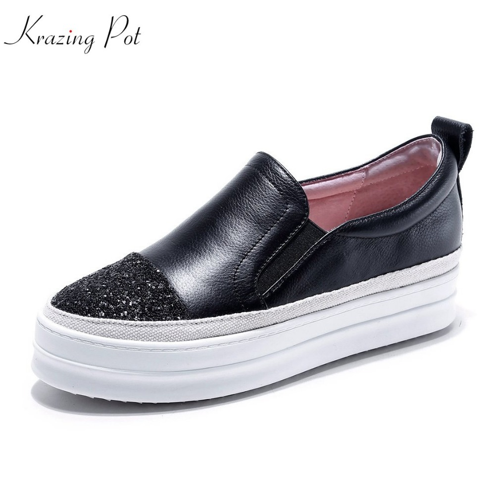 Krazing pot new cow leather shallow classic young lady casual round toe pregnant shoes blingbling slip on hollow women flats L06 2017 brand new fashion spring women big head shoes slip on loafers round toe casual shoes flats leather shallow boat shoes xa 87