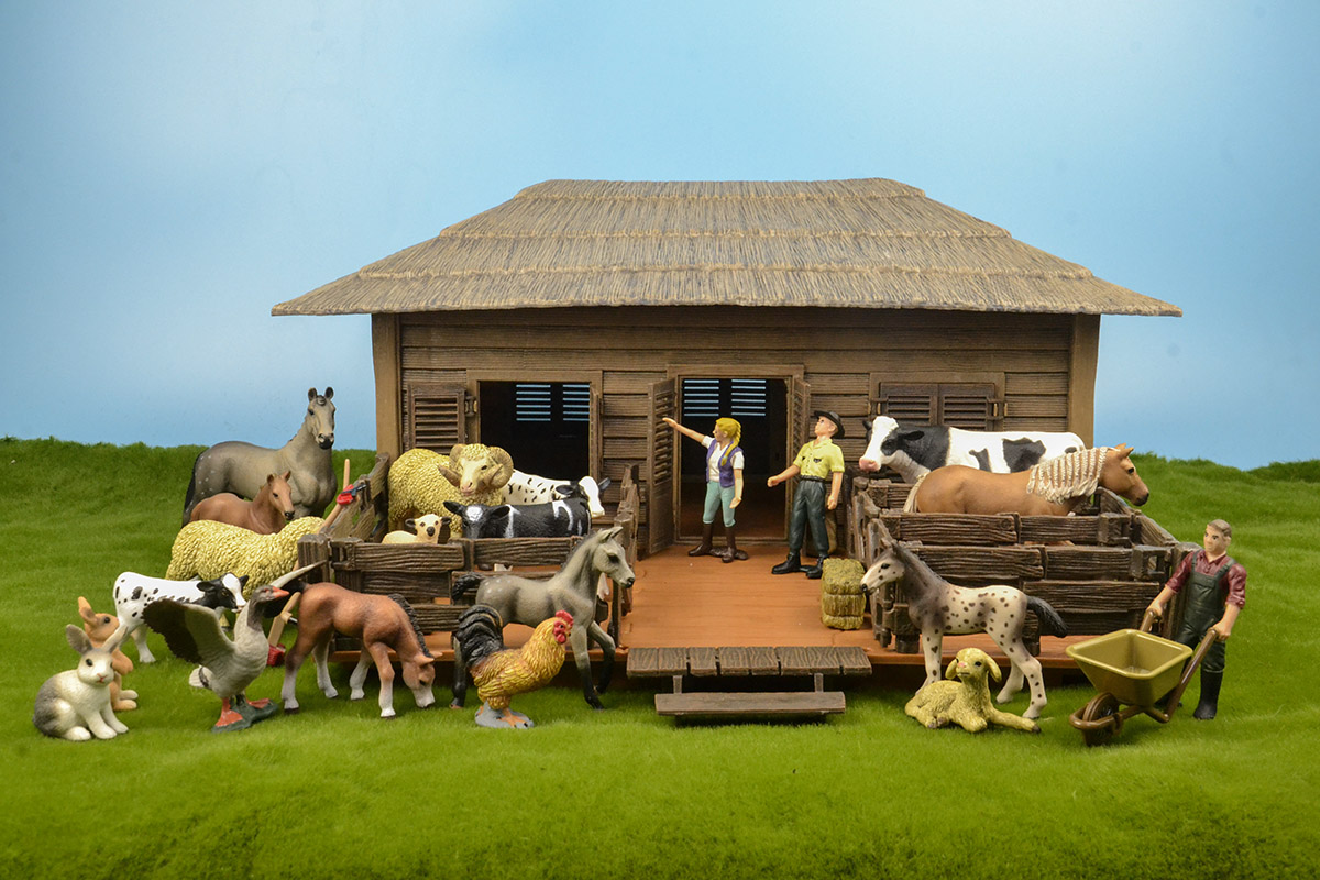 Wild zoo large farm house animals figures Farmer Breeder Corral fence feed horse stable cleaning kits toys children gift in Action Toy Figures from Toys Hobbies