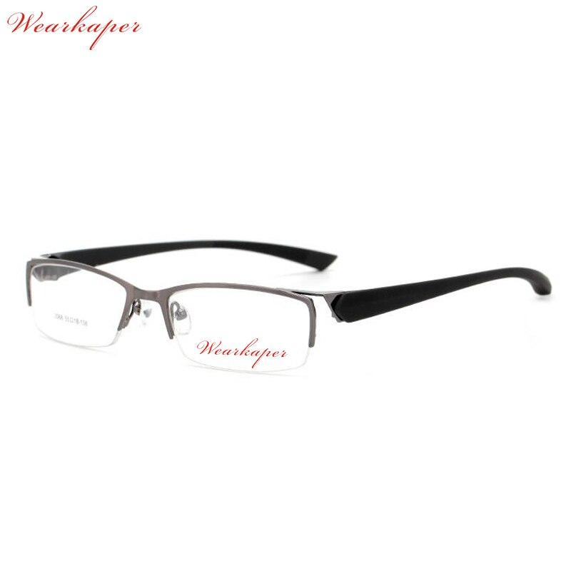 WEARKAPER Haute qualité Demi jante Titane Lunettes Optiques Cadre Hommes Spectacle Cadre Mâle Oeil Ordinateur Glasse