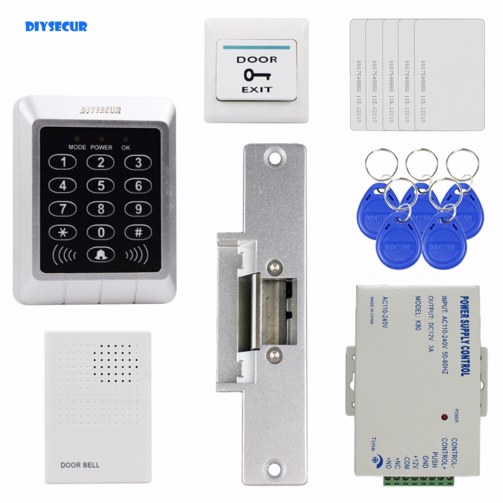 DIYSECUR 125KHz RFID Password Keypad Access Control System Security Kit + Strike Lock + Door Bell For Office / Home Improvement diysecur 125khz rfid metal case keypad door access control security system kit electric strike lock power supply 7612