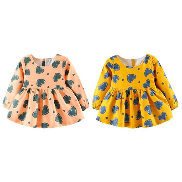 4475b25a5768 Autumn Heart Print Baby Dress for Girl Long Sleeves Cartoon Bear Long Sleeve  A-Line Dress Hearts Print Girls Baby Swing Clothes