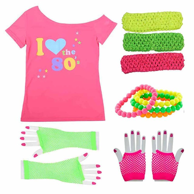 Women s I love 80s Costume Outfit 1980s Retro Disco T-shirt with Gloves  Accessories Rock N Roll Party Fancy Dress Novelty Gift b059a797c390