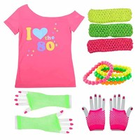 Women's I love 80s Costume Outfit 1980s Retro Disco T shirt with Gloves Accessories Rock N Roll Party Fancy Dress Novelty Gift
