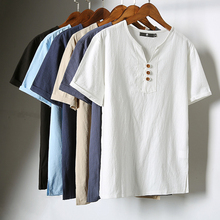 Mens Summer Linen Cotton Blend Short Sleeve T-shirt V-Neck Casual Tops Tee Chinese Style Plus Size M-5XL V66