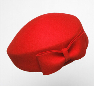 2d8f7b71b7420 Vintage Women Ladies Elegant 100% Cloche Wool Hat Red Black Beret ...