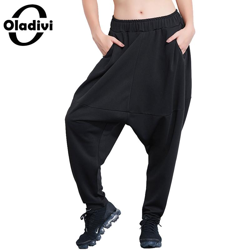 Oladivi Brand Women Plus Size Clothing Ladies Casual Loose Pockets   Pant   Black Trousers Loose   Capri   Pantalone Cross   Pant   2018 New