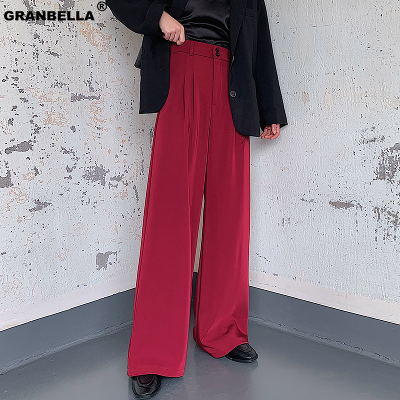 High Quality Soft Fabric Women's Elegant Slim Office Lady Full Length   Pants   Plus Size Women High Waist   Wide     Leg     Pants   Black