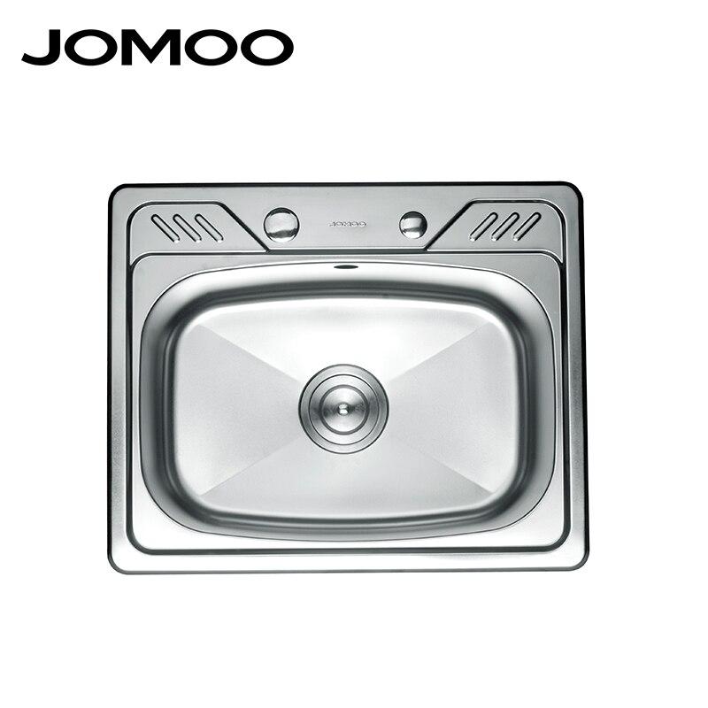 Cucina JOMOO Lavello In Acciaio Inox Vasca Singola Ciotola di Forma Quadrata Lavello Filtro di Scarico Set Sabbiatura Finitura Grembiule Lavello Evier Disipador