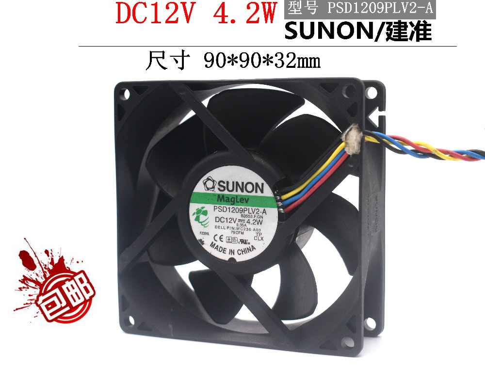 Free Shipping SUNON PSD1209PLV2-A B3553.F.GN DC12V 4.2W Server Cooling Fan 4-wire PWM 90x90x32mm WC236-AOO