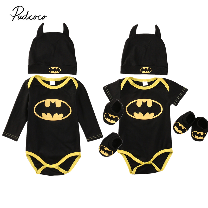 Cute Newborn Baby Boys Infant Batman Black Bodysuit+Shoes+Hat 3Pcs Outfit Clothes Set 0-2T