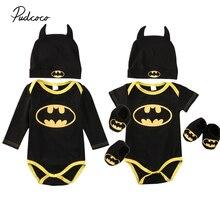 Cute Newborn Baby Boys Infant Batman black bodysuit+Shoes+Hat 3Pcs Outfit Clothes Set 0-2T