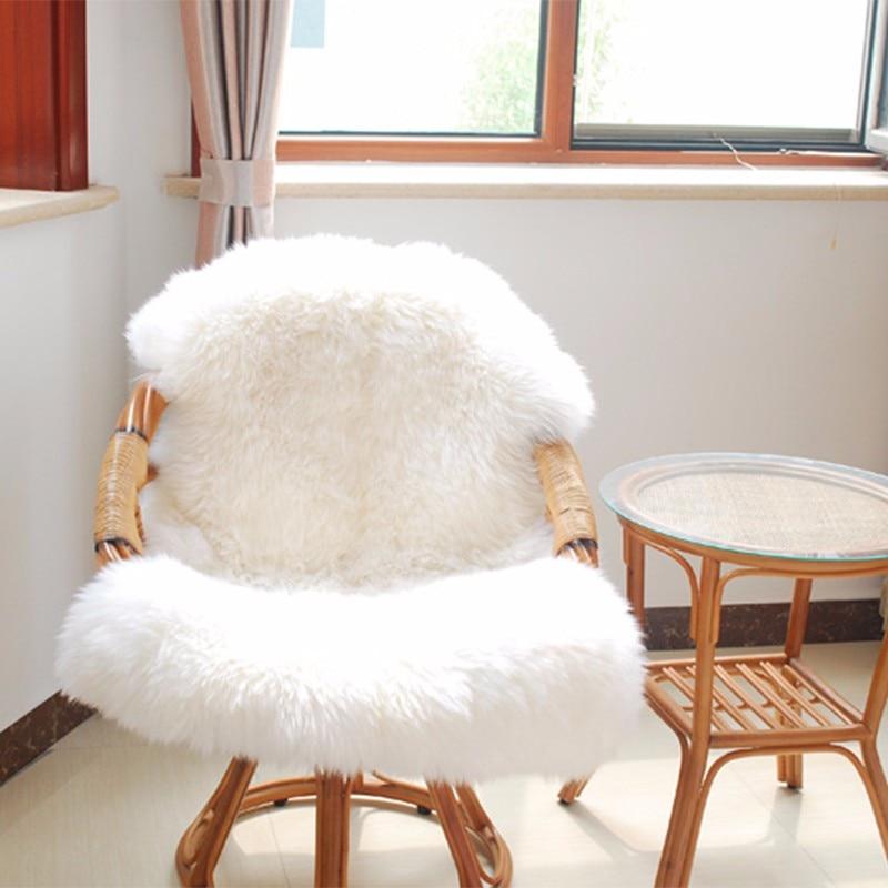 Hairy Carpet Sheepskin Chair Cover Bedroom Faux Mat Seat Pad Plain Skin Fur Plain Fluffy Area