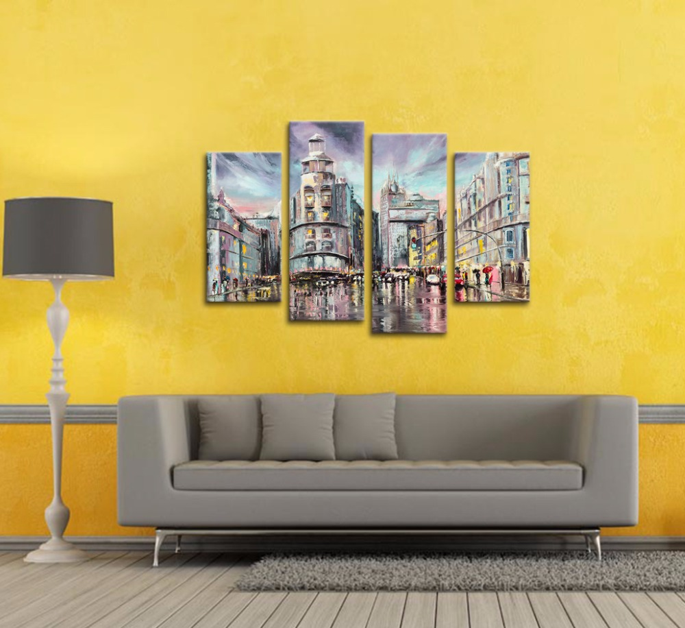 Modern Cityscape Oil Painting Printed on Canvas Raining Scenery Fine ...
