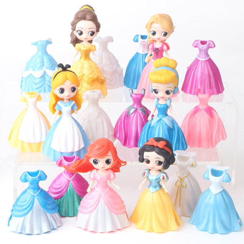 6pcs Disney Anime Figure Toys Dress Can Change  Frozen Elsa Anna Rapunzel Dolls Dress Figurines PVC Action Figures Girl Toy Gift
