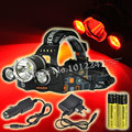 5000 Lumen 3 LED Headlamp(1 xT6 White+2 xR5 Red Light) 3 Mode Headlight Hunting Flashlight+2 x18650 Rechargeable Battery+Charger