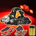 5000 lúmenes 3 LED de luz ( 1 xT6 blanco + 2 xR5 luz roja ) 3 modo faro caza linterna 2 x 18650 batería recargable + cargador