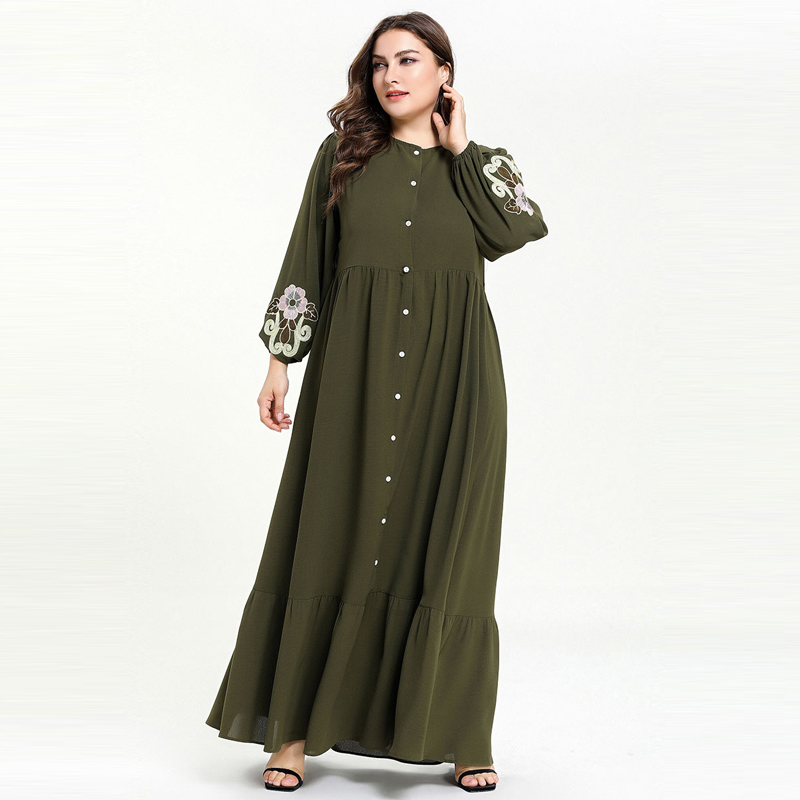 Middle East Muslim Robe Single Breasted Button Up Opening Dress Large Size Women Long Sleeve Appliqued Dresses Vestidos 4XL