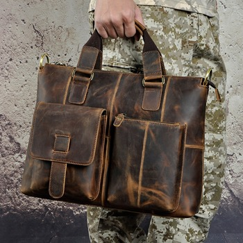 "Men Quality Leather Antique Retro Business Briefcase 15.6"" Laptop Case Attache Portfolio Bag One Shoulder Messenger Bag B260"