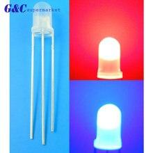 50 шт светодиодные диоды f5 3 контакта общий анод/катод молочно