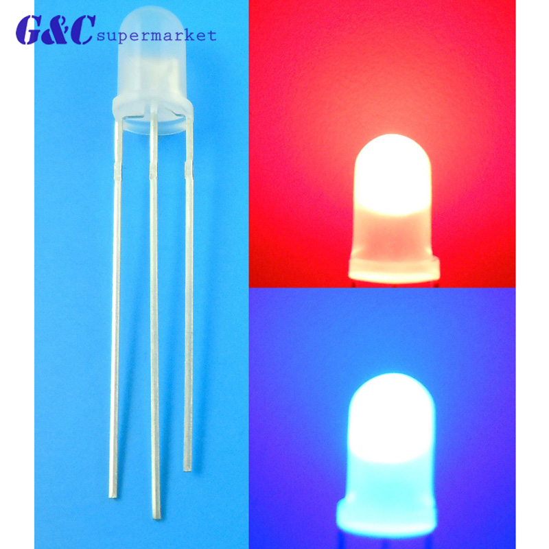 20 x 3mm Dual Bi-Color Red Blue Bright 3-Pin Clear bulb LED Common Anode
