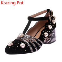 2018 Fashion Brand Autumn Shoes Sheep Suede Pearl Buckle Ankle Straps Round Toe High Heels Wedding