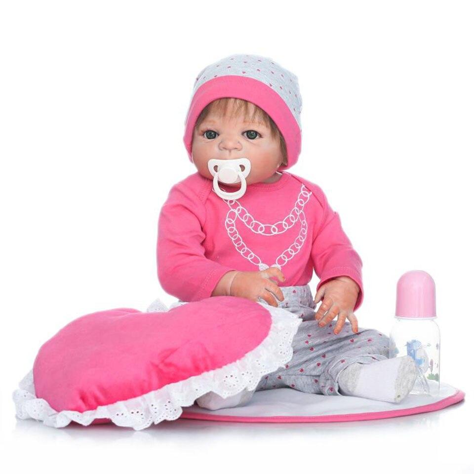 Newborn Doll Real Life Reborn Bonecas 23 Inch Full Vinyl Body Girl Baby Toys So Truly Ethnic bebe Doll For Kids Playmates Gift economic newborn baby model flexible full term baby doll