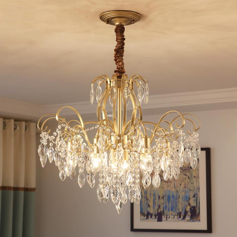 American style crystal Chandeliers modern iron Art Deco hanging lamps dinning room living room bedroom crystal Chandelier lights stainless steel ring led crystal chandelier living room dining room lamps bedroom lights modern art lights