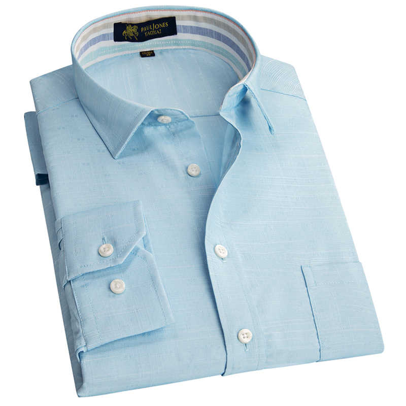 2019 コットンリネン長袖ビジネスカジュアル男性のシャツの夏通気性高品質ストライプ内側カラー男性ドレスシャツ