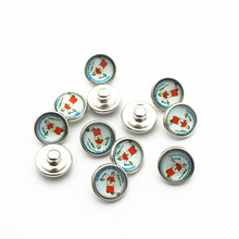 New Arrive 20pcs/lot 12mm Glass Snap Buttons Fit  DIY Snap Bracelet Snap Button Charms Jewelry цена