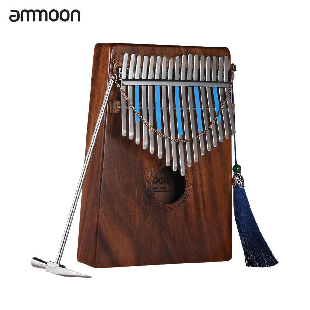 Ammoon 17-Key «пианино для больших пальцев» Kalimba Mbira Sanza Hawaiian Koa твердая древесина с сумкой книга музыкальные наклейки со шкалой молоточек для настройки AKP-17K