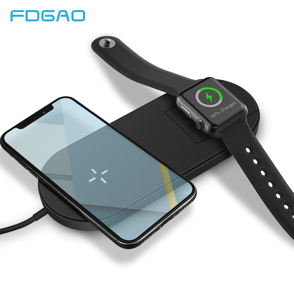 FDGAO 2 in 1 Qi Wireless Charger For iPhone 8 X XS Max XR Apple Watch 4 3 2 Samsung S8 S9 USB Quick Charge Wireless Charging Pad iPhone 8