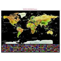 Black Deluxe Scratch Edition World Map DIY Kids Travel Stickers Home Decoration Stickers World Map Scratch