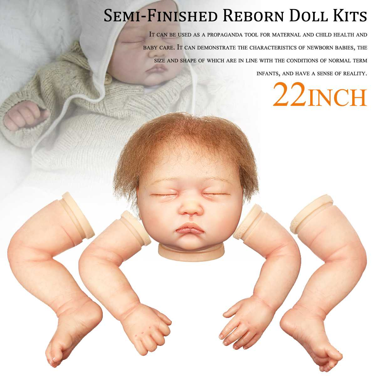 22 Inch Unisex lifelike Vinyl Silicone Rebirth Baby Alive Doll Kits Doll Accessories With Head Limbs Blank Unpainted Parts DIY22 Inch Unisex lifelike Vinyl Silicone Rebirth Baby Alive Doll Kits Doll Accessories With Head Limbs Blank Unpainted Parts DIY