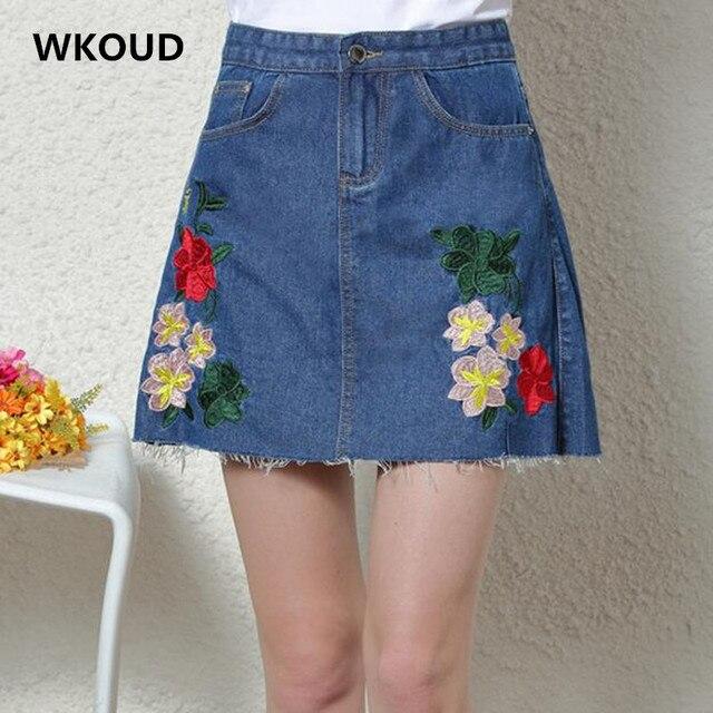 f8116c0c4 Wkoud 2017 vintage 4 floral saia jeans mulheres bordados sólidos mini saias  nova moda um botão