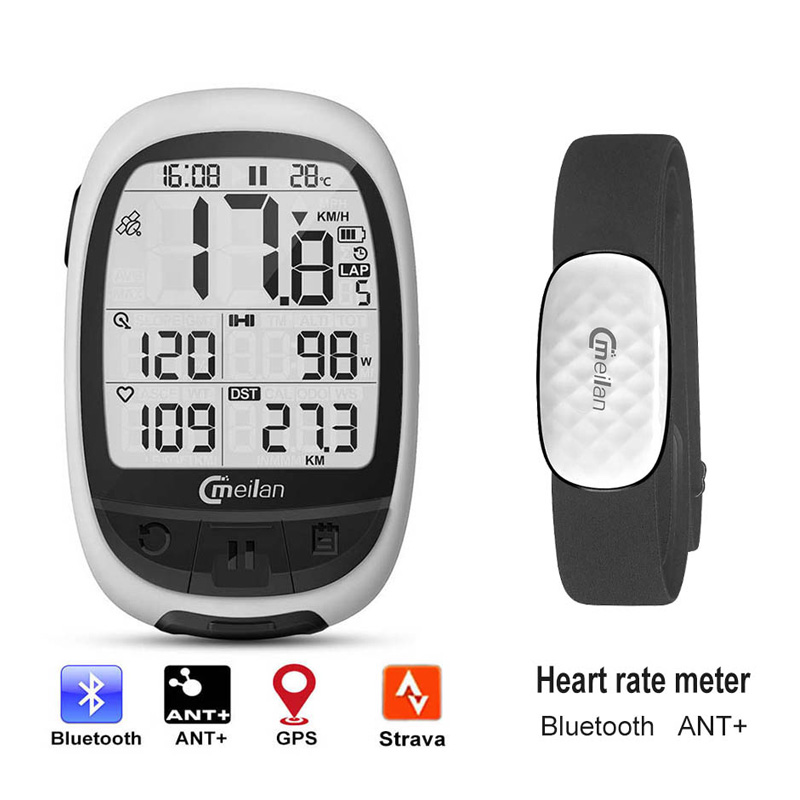 Bike gps Computer Bluetooth ANT cycling computer Meilan M2 support connect with cadence heart rate power