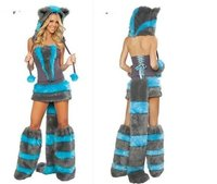 New Deluxe Sexy Woman S Lady S Frisky Fur Wolf Cat Halloween Hallowmas Game Cosplay Costume