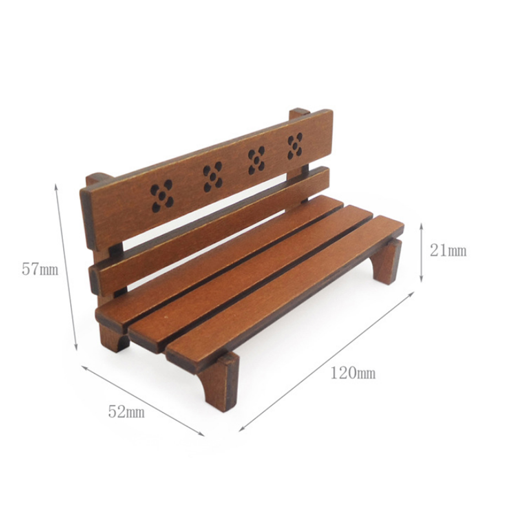 Dollhouse Miniature Outdoor Garden Chair Wooden Park Bench Long Chair Room Garden Furniture Accessories Brown Furniture Toys Aliexpress