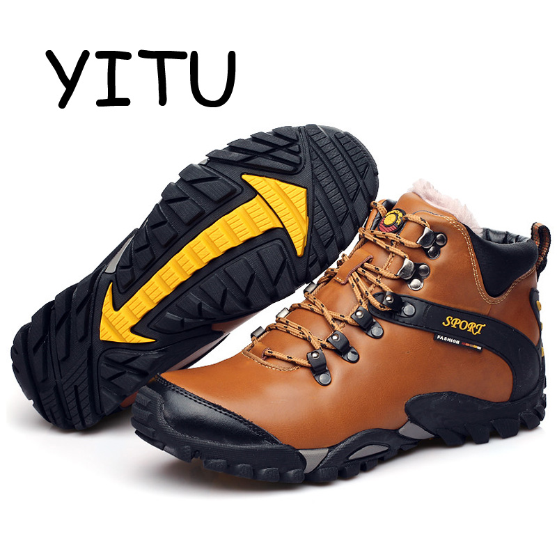 YITU 2018 Winter Leather Hiking Boots Men Camping Waterproof Hiking Shoes Sport Sneakers Trekking Mountain Climbing Shoes Brand цена