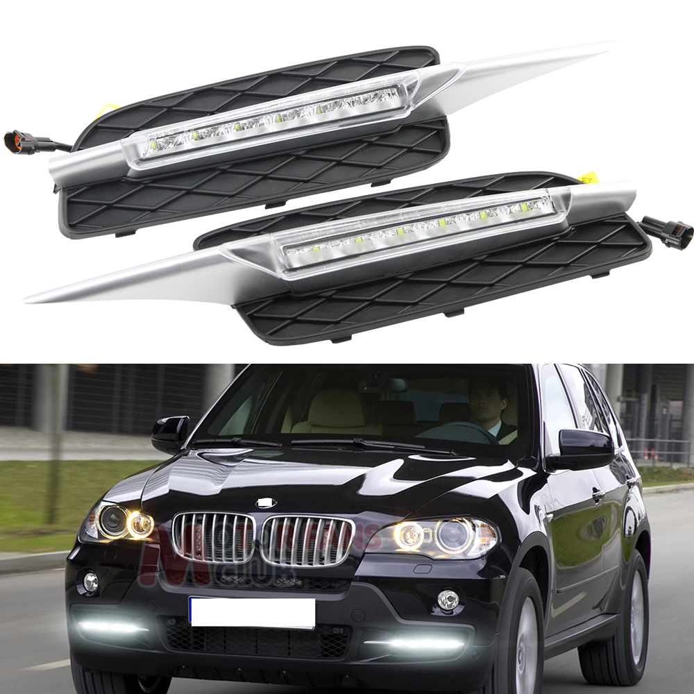 2pcs car styling Signal lights For BMW X5 E70 2007-2010 LED DRL Daytime Driving Running Light Daylight Waterproof Fog Head Lamp oem fit car daytime running light 6 led drl daylight kit for for bmw x5 e70 07 09 super white 12v dc head lamp