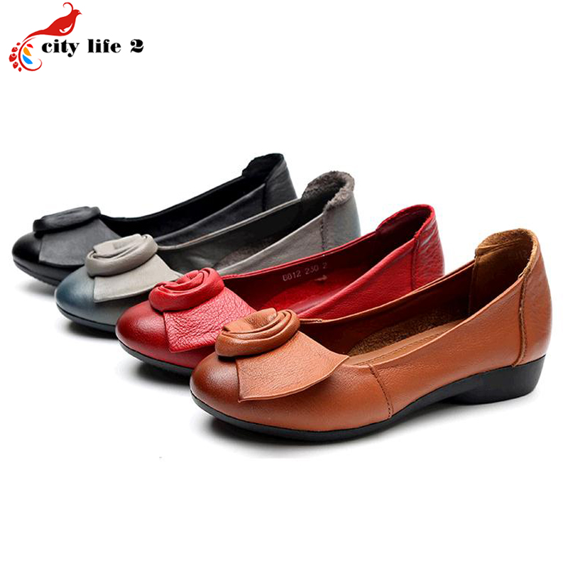 Full Grain Leather Leisure Shoes Genuine Leather Soft Bottom Slip Shoes Flat With Casual Mother Shoes