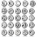 100% 925 Sterling Silver Alphabet Carta A-Z Charm Bead Fit Original Pandora Letter Charm Bracelet DIY W V U Z C T Berloque