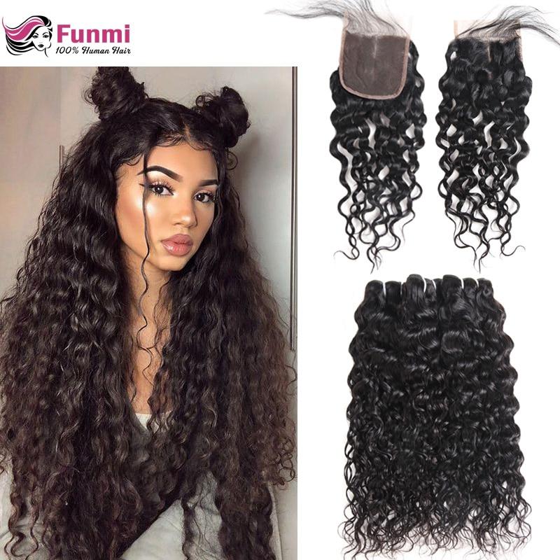 Funmi Virgin Human Hair Bundles with Closure Water Wave Bundles with Closure 4*4inch Brazilian Virgin Hair Bundles with Closure