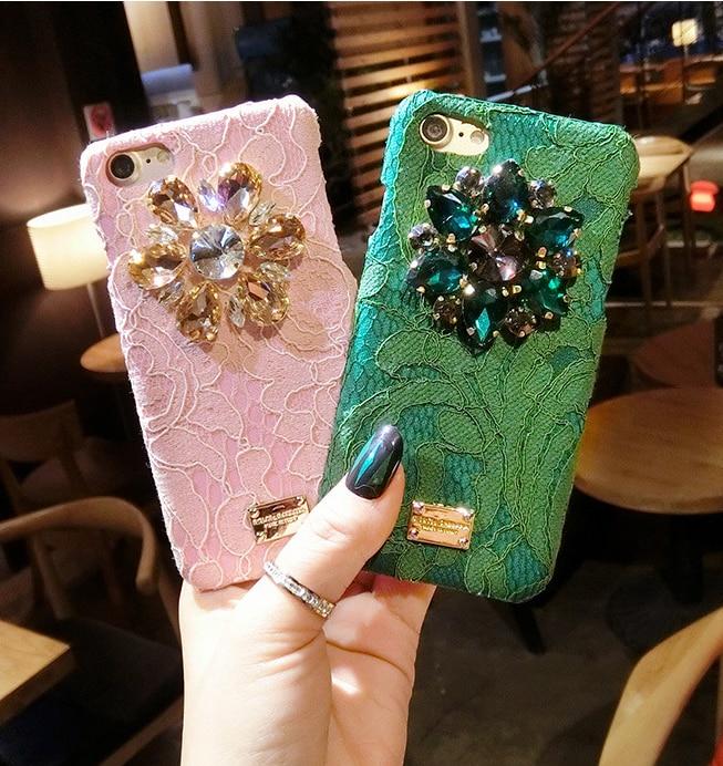 Italy Luxury Diamond Flower Lace Hard Phone Case for iphone 6 6s 6plus 7 7plus Back