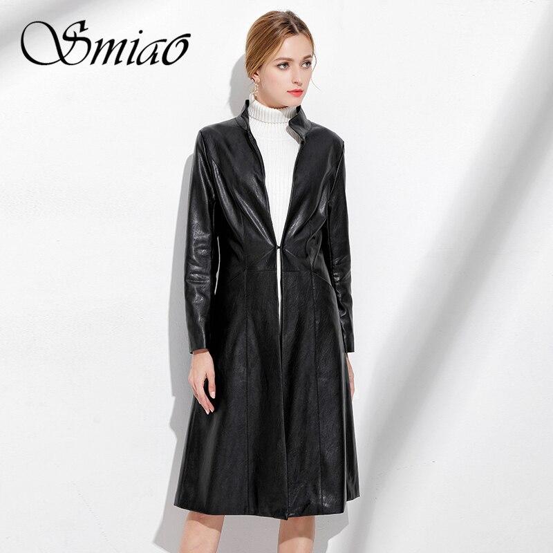 Smiao 2018 Black Long Soft Faux Leather Jackets Autumn Winter Women
