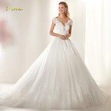 Loverxu V-Neck Wedding Dress Sleeveless Bride Dress