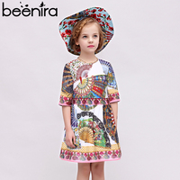 Beenira Children Autumn Dresses 2017 New European And American Style Pattern Printed Kids Clothes Dress Design