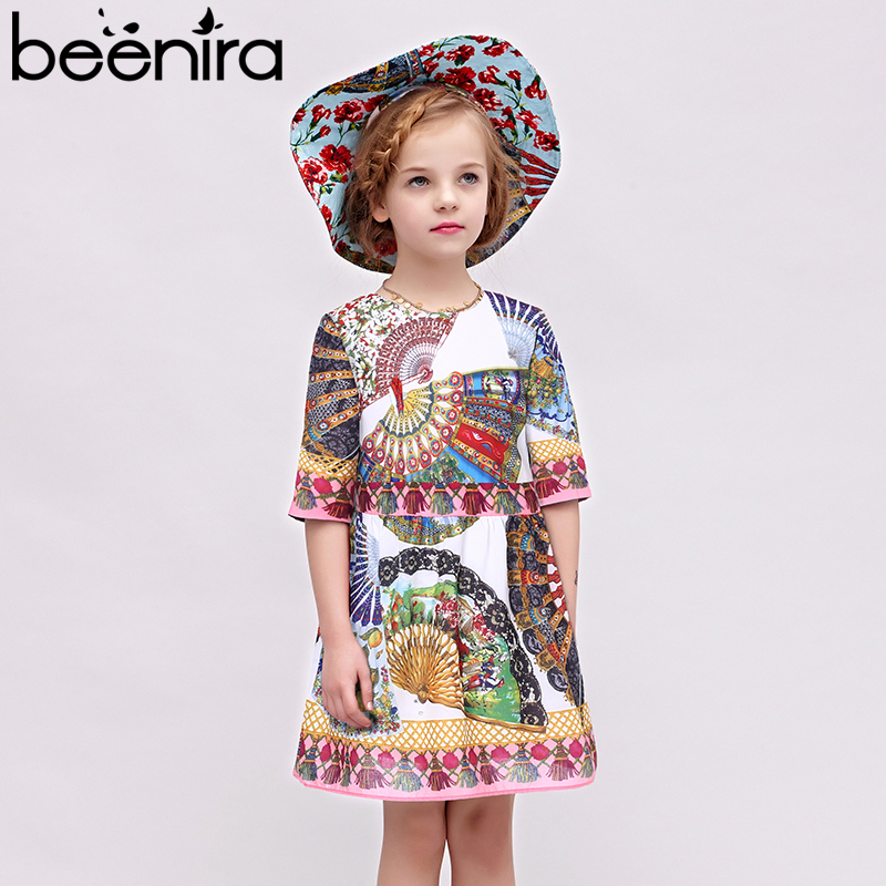 Beenira Children Autumn Dresses 2018 New European And American Style Pattern Printed Kids Clothes Dress Design 4-14Y Girls Dress ornate printed pocket design dress